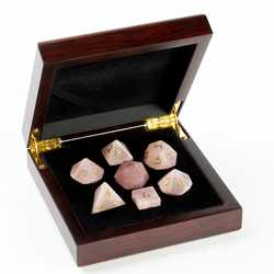 Stone Dice: Rose Quartz 7-die Set