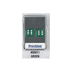 Precision Backgammon Dice (Green, Transparent)