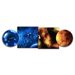 Double sided Game Mat Frozen Planet / Fiery Nebula 3x3 ~ 90x90cm (Mousepad)