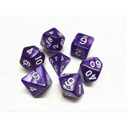 Purple/White Pearl Dice (7-Die set)