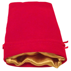 4″ x 6″ Red Velvet Dice Bag with Gold Satin Lining