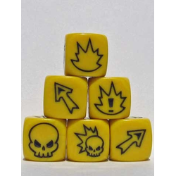 Fantasy Football Block Dice - Flaming Skull Yellow/Black (3st)