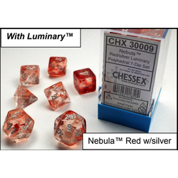 Lab Dice Nebula Red/silver Luminary 7-Die Set