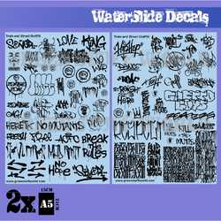 Waterslide Decals - Train and Graffiti - Black