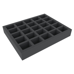 Feldherr 50mm Full-size 25 slot foam tray with base - large rectangular cut outs