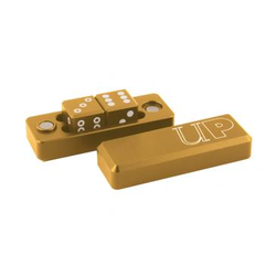 Gold Metal Spot Gravity Dice (2x16mm D6, In Metalic Holder)
