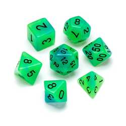 Resin Dice: Fluorescence Series Green & Blue - Numbers: Black 7-die Set