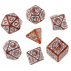 Steampunk Clockwork Dice Set (Caramel and White)