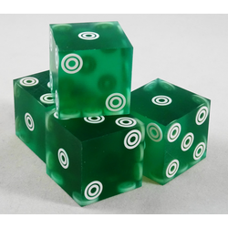 Cancelled Casino Dice Green Sanded Bullseye, 20mm