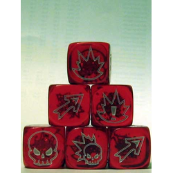 Fantasy Football Block Dice - Flaming Skull Translucent Red/White (3st)