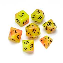 Resin Dice: Fluorescence Series Orange & Yellow - Numbers: Black 7-die Set
