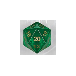 Spindown d20 dice, 55mm - Transparent Green