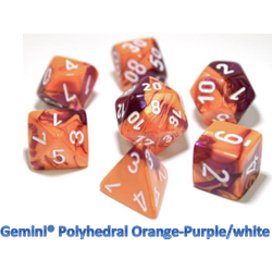 Lab Dice Gemini Orange-Purple/white (7-Die set)