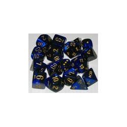 Gemini: Black-Blue w/gold (12-die set)