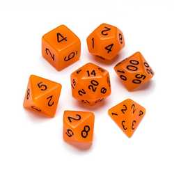 Resin Dice: Fluorescence Series Orange - Numbers: Black 7-die Set