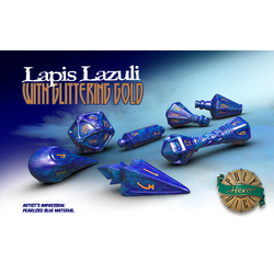 PolyHero Dice: Wizard 7-Dice Set Lapis Lazuli with Glittering Gold