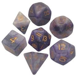 Resin Dice: Blue White with Gold 16mm