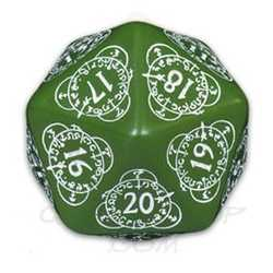D20 Card Game Level Counter: Green w/ White