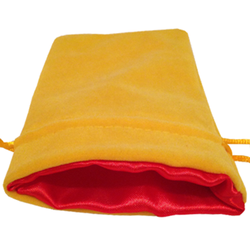4″ x 6″ Yellow Velvet Dice Bag with Red Satin Lining