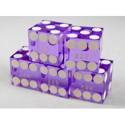 Purple Casino Dice with Serial (Set of 5), 19mm