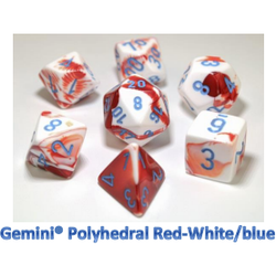 Lab Dice Gemini Red-White/blue (7-Die set)