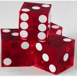 Used Casino Dice Red, 19mm