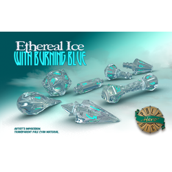 PolyHero Dice: Wizard 7-Dice Set Ethereal Ice with Burning Blue