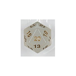 Spindown d20 dice, 55mm - Transparent Pearl