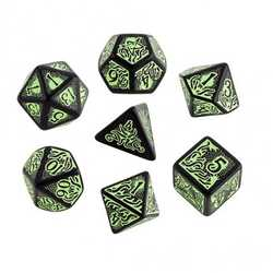 Call of Cthulhu RPG 7th ed Dice Set: Black w green (7)