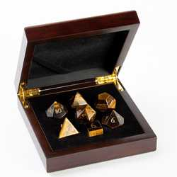 Stone Dice: Yellow Tiger Eye 7-die Set