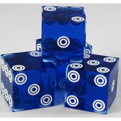 Cancelled Casino Dice Blue Bullseye, 19mm