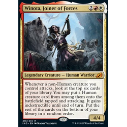 Magic löskort: Ikoria: Lair of Behemoths: Winota, Joiner of Forces (Prerelease Foil)