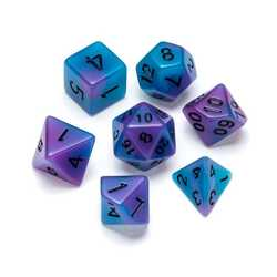Resin Dice: Fluorescence Series Blue & Purple - Numbers: Black 7-die Set