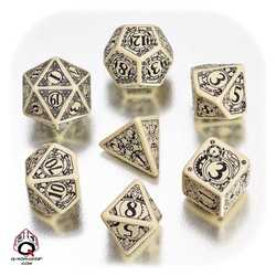 Steampunk Dice Set (Beige and Black)
