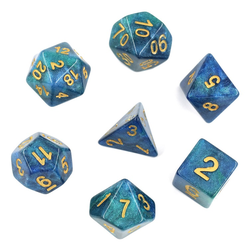 Blue/Green Galaxy Dice (7-Die set)
