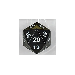 Spindown d20 dice, 30mm - Black