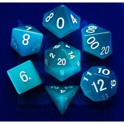 Metallic Dice: Cat's Eye Aquamarine (7-die set)