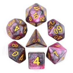 Pink/Black Galaxy dice set (7-Die set)