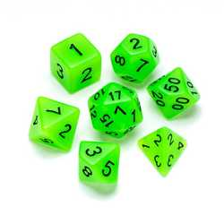 Resin Dice: Fluorescence Series Green - Numbers: Black 7-die Set