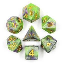 Green/Purple Galaxy dice set (7-Die set)