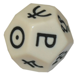 Astrology dice - White/black d12