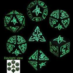 Cthulhu Dice Set (Black w/ Glow in the Dark ink)