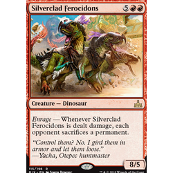 Magic löskort: Rivals of Ixalan: Silverclad Ferocidons