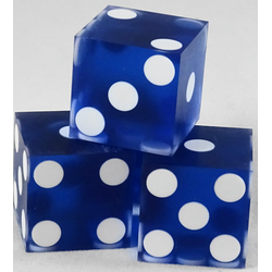 Used Casino Dice sanded Blue, 19mm