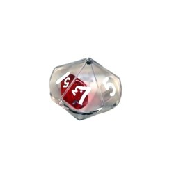 Double Dice d10 Clear Shell w/Internal Translucent Red/white d10