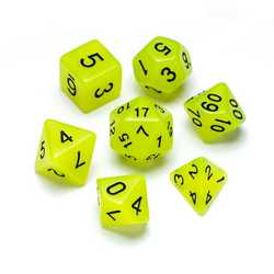 Resin Dice: Fluorescence Series Jade - Numbers: Black 7-die Set