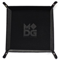 Velvet Folding Dice Tray 10x10 with Leather Backing - Black