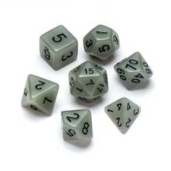 Resin Dice: Fluorescence Series White - Numbers: Black 7-die Set