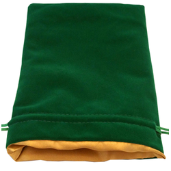 6″ x 8″ Green Velvet Dice Bag with Gold Satin Lining