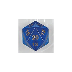 Spindown d20 dice, 55mm - Transparent Blue